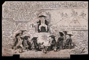 view A student lecturing to other students in a parody of an academic lecture. Etching by George Cruikshank.