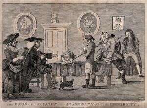 view A young man, in the presence of his father, is examined by an academic for admission to university. Etching by J. Bretherton after H.W. Bunbury.
