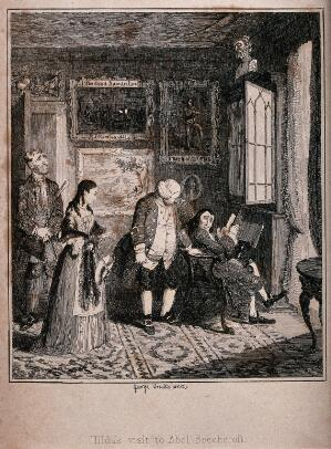 view Abel Beechcroft, while reading in the library of his house in Lambeth, is disturbed when Hilda Scarve is led into the room by his butler Jukes. Etching by George Cruikshank, 1842.