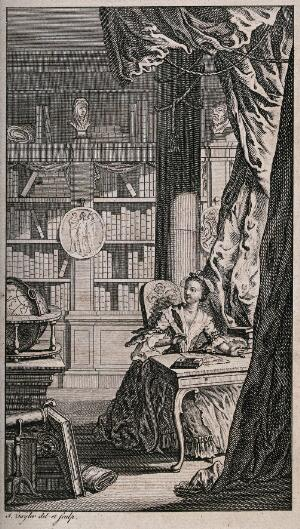 view A woman is sitting at a desk in a library, writing. Engraving by I. Taylor after himself.