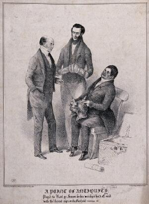 view Three antiquarians discussing pieces of armour held by two of them. Lithograph, 1833.