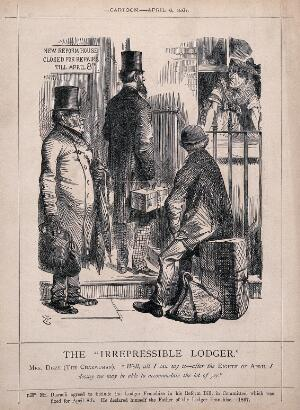 view Three men seeking lodgings standing on the doorstep of a house where the landlady (Disraeli) is leaning out of the window; representing the enfranchisement of lodgers. Process print after J. Tenniel, 1867.
