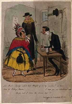 view A woman wearing a bonnet and shawl accompanied by a man wearing a scarf around his neck are talking to a man sitting at a table eating a meal. Coloured etching.