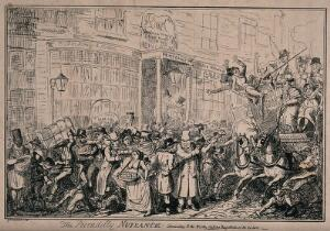view Crowds of people are thronging the streets of Westminster, with traders hawking their wares and others arguing, and so much noise and bustle the horse and carriage is nearly overturned. Etching by George Cruikshank.