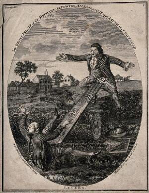 view Two men are using a plank over a large log as a see-saw; representing the mechanics of levers. Engraving.