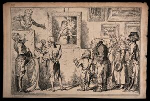 view Men and women are attending an auction of paintings: the auctioneer is selling the painting on the wall. Etching by George Cruikshank.