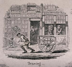 view A man is pulling a cart along the road as people are sitting in the windows of a building watching as he goes by. Etching by George Cruikshank after himself.