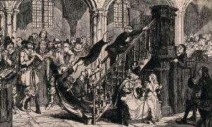 view A man is falling down the stairs of the pulpit watched by the congregation in the church, as he falls he pulls the robe of the priest. Etching after George Cruikshank.