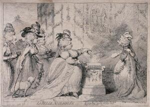 view Five elderly ladies caricatured as young women performing a sacrifice in a classical tableau. Etching by J. Gillray, 1787.