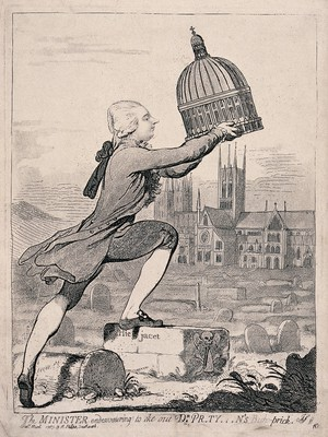 view William Pitt the younger places the dome of St Paul's Cathedral over Lincoln Cathedral; representing Pitt's appointment of George Pretyman (Bishop of Lincoln) as also dean of St Paul's. Etching attributed to J. Gillray, 1787.