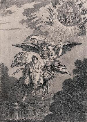 view A guardian angel is carrying a child up into the sky to an altar dedicated to a parody of the Virgin. Etching by James Gillray, 1805.
