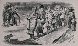 view First Vatican Council, 1869-1870: Pope Pius IX leading his cardinals across a plank of wood placed on the ice, watched by Mr Punch. Wood engraving by Swain after J. Tenniel, 1869.