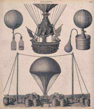 view A man is standing in the basket of a balloon waving two flags. Engraving.