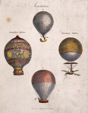 view Ballooning: four figures. Coloured engraving by Garner.