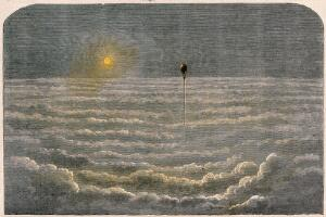 view A hydrogen balloon flying high above the clouds with the sun shining on it. Coloured wood engraving.