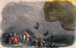 view A hot-air balloon has landed in stormy weather, a crowd of people have brought lamps and are helping the aeronauts. Coloured wood engraving.