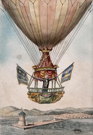 view James Sadler setting off on the proposed first crossing of the Irish Sea from Dublin by hot-air balloon, 1812. Watercolour.