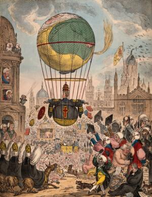 view A large balloon flies over a town crowded with people. Coloured etching by James Gillray.