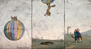 view A fox ascends in a balloon, descends into a pit and walks off arm in arm with Lord North; representing Charles James Fox's coalition with Lord North under pressure from William Pitt the younger. Coloured etching, 1783.