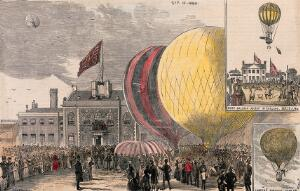 view Crowds of people gathered in a square, with hot-air balloons on the ground. Coloured wood engraving after Corbould, 1884.