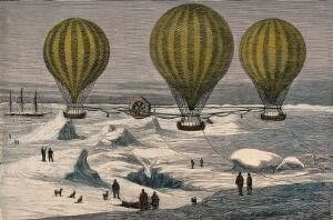 view Three hot-air balloons travel over a snowy landscape. Coloured wood engraving by E. Roberts.