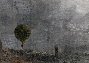 view A hot-air balloon leaves the ground in driving rain. Coloured wood engraving.