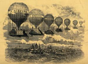 """view A line of hot-air balloons loaded with boxes advertise """"A. Stevens"""" as they travel over a line of sailing ships. Wood engraving."""