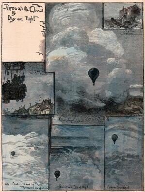 view The view from a balloon on a flight over southern England in 1881. Coloured wood engraving after W.B. Murray, 1881.