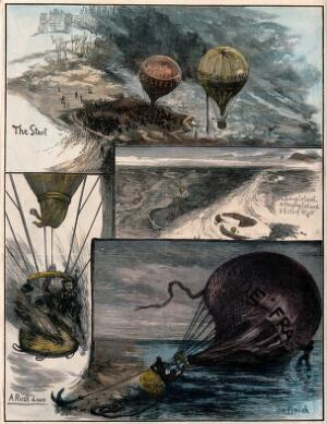 view A balloon race  from London to Hampshire, 1880. Coloured wood engraving, 1880.