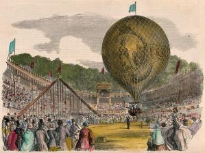 view Large crowds of people have gathered to watch a hot-air balloon take off. Coloured wood engraving.