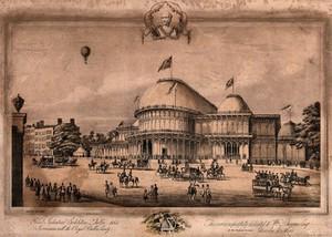 view The Great Industrial Exhibition, Dublin, 1853: a hot-air balloon flies above. Lithograph.