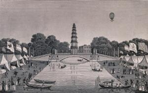 view St. James's Park: people boating on the lake which has marquees with flags flying on its banks, a hot-air balloon flies overhead. Engraving, 1814.