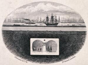 view The Thames river, London: a cross-section of the first tunnel under the river, shipping in the river, and Rotherhithe beyond. Engraving by Silvester & Co., ca. 1830.