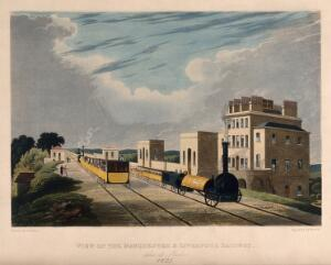 view A steam train on a line at a station with passengers travelling. Coloured aquatint by Havell after Calvert.