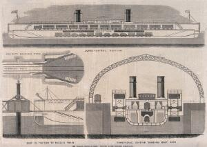 view A steamboat and some its internal and external workings. Wood engraving.