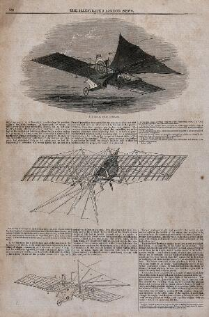view A flying contraption with large wings travels over the water. Wood engraving, 1843.