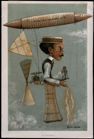 view Alberto Santos-Dumont, aviator, with an airship attached to his head and a propeller strapped to his back. Colour lithograph after Geo. Hum., 1901.
