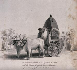 view A vehicle with wooden wheels pulled by two oxen in India. Etching by T. Wageman after M.-R. de Montalembert.