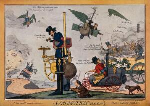 view Types of steam-driven vehicles and flying machines. Colour process print after Robert Seymour, ca. 1830.
