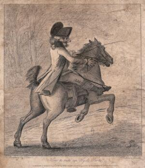 view A man riding a horse in Hyde Park. Etching after H.W. Bunbury.