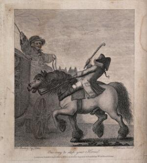 view A coachman looks angrily at a man on horseback who has nearly collided with the coach. Etching by H. Bunbury.