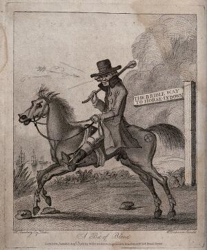 view A man is riding a horse along a bridle way. Etching after H.W. Bunbury.