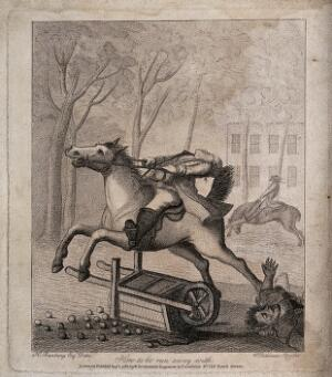 view A runaway horse has upturned an apple cart and the rider is hanging on to the reins. Etching after H.W. Bunbury.