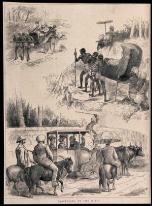 view European men and women being transported by Indian men, in a coach drawn by oxen, in sedan chairs, and in a carriage pulled by men. Wood engraving, 1875.