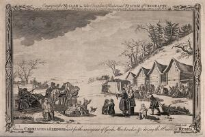 view Russia: people carrying goods on sledges over the snow. Engraving by Smith, 1785.