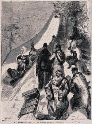 view People are pulling toboggans up the steps to then slide down the slope on the other side. Wood engraving by H. Harral after S.T. Hull.