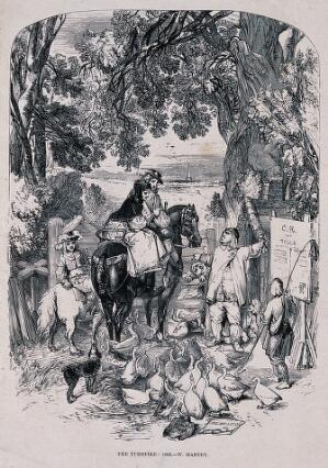 view A group on horseback have arrived at a gate to be told by the man pointing to a sign nailed to a post that they must pay to go through the gate. Process print after Fred Branston.