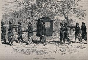 view Bearers in China carrying a sedan chair suspended between poles. Wood engraving.