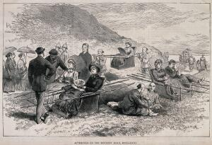 view Hong Kong: westerners promenading and taking sedan chairs along Kennedy Road. Wood engraving after C.J. Uren, 1883.