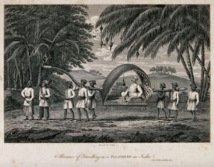 view A man is being carried in a litter by his servants. Engraving by J. Shury after J. Forbes.